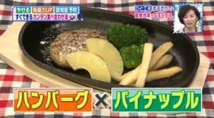 ハンバーグとパイナップル